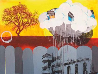Maleri med huse fra Cuba