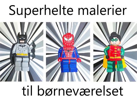 Børnemalerier af Kamilla Ruus med superhelte.