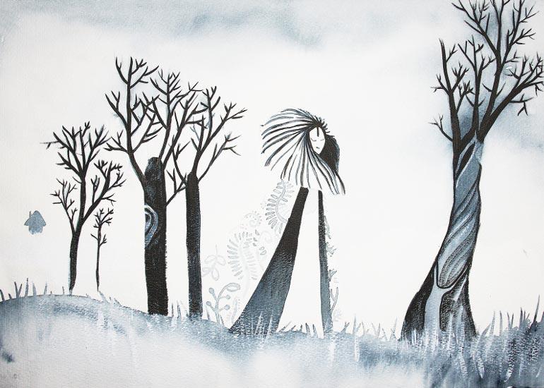Maleri med akvarel landskab af Kamilla Ruus