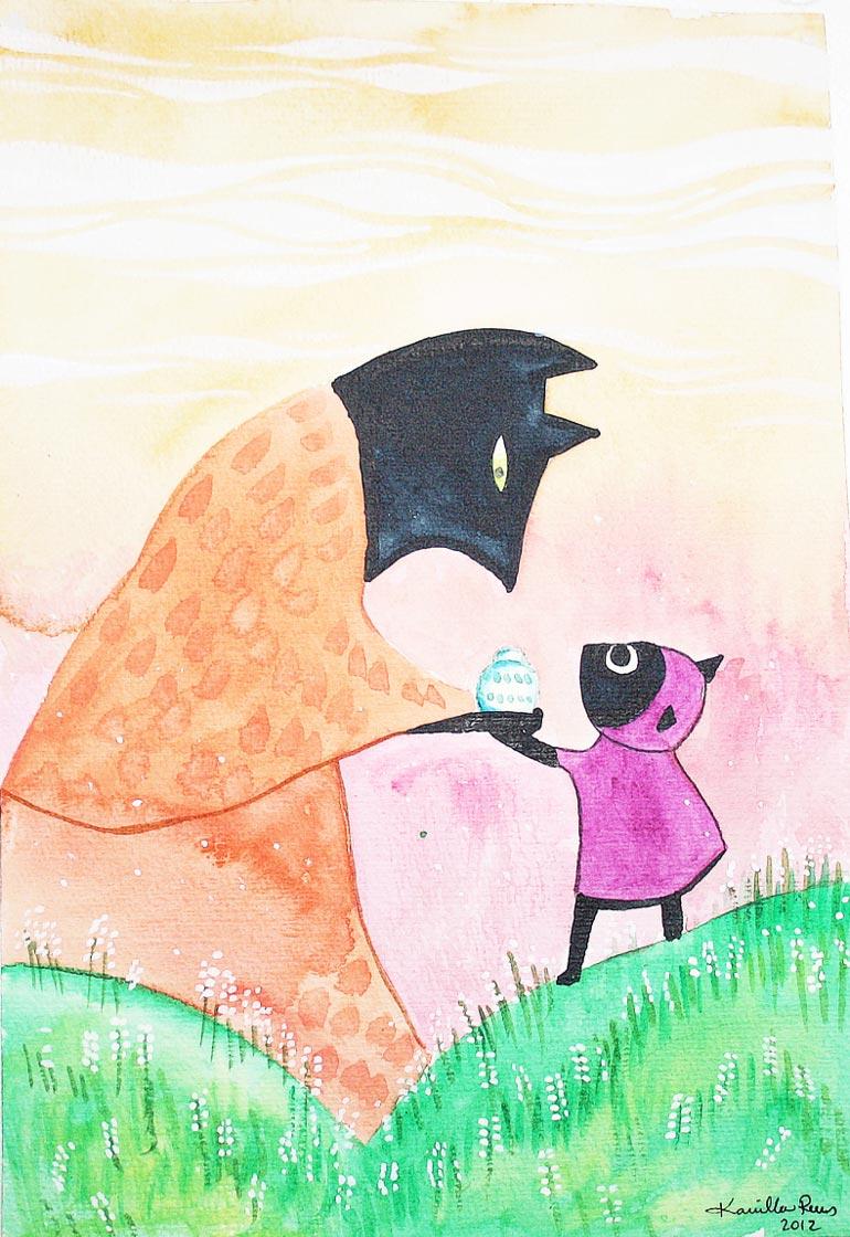 Akvarel tegninger - Little People - Kamilla Ruus