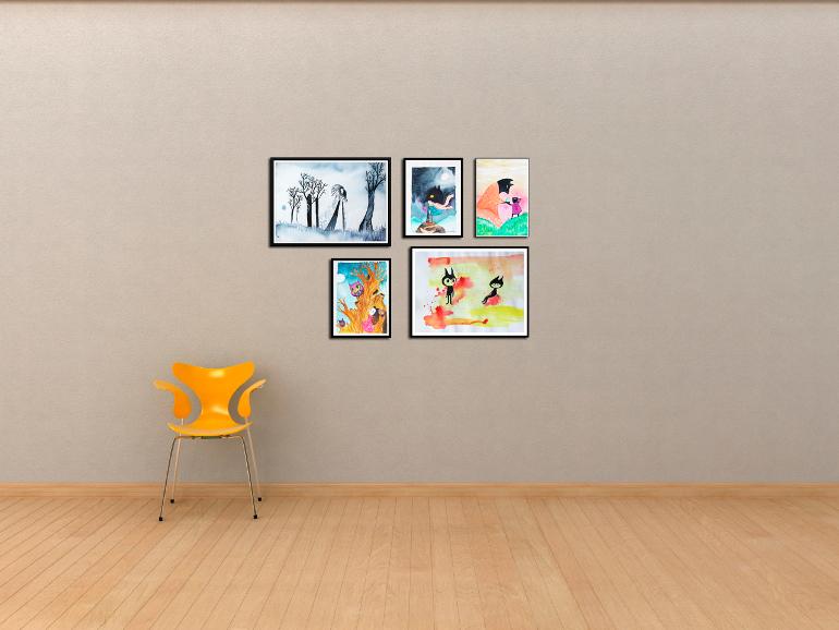 Akvarelbilleder til gallerivæg af Kamilla Ruus