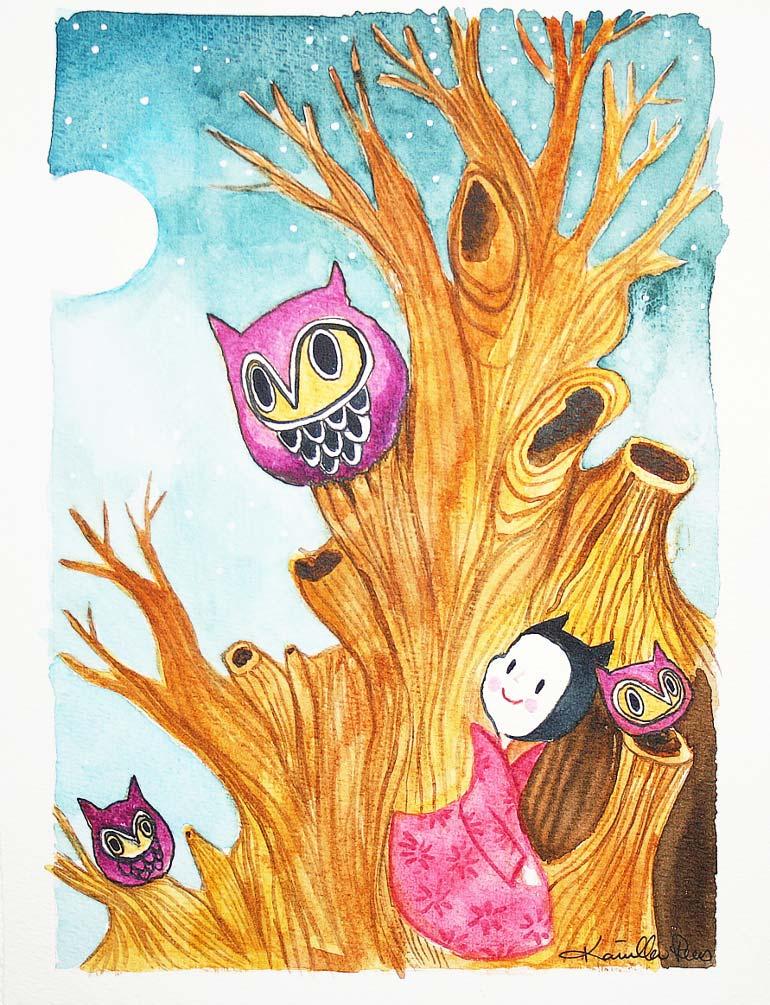 Ugle akvarel tegning af Kamilla Ruus