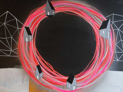 Maleri med cirkel i pink