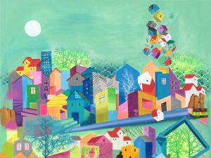 Giv køkkenet et farvepift med et abstrakt maleri i stærke farver