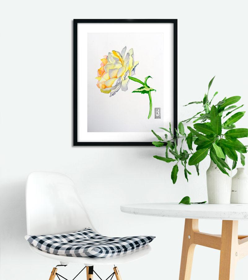Blomster akvarel på væggen