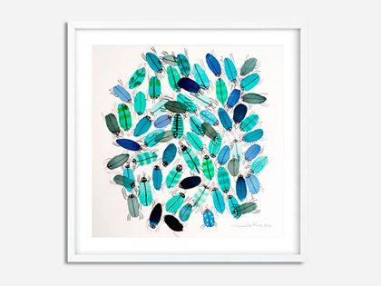 Blå insekter: Akvarel illustration