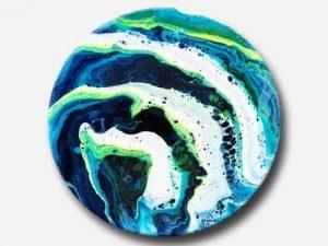 Rundt maleri Cerulean Blue i abstrakt stil