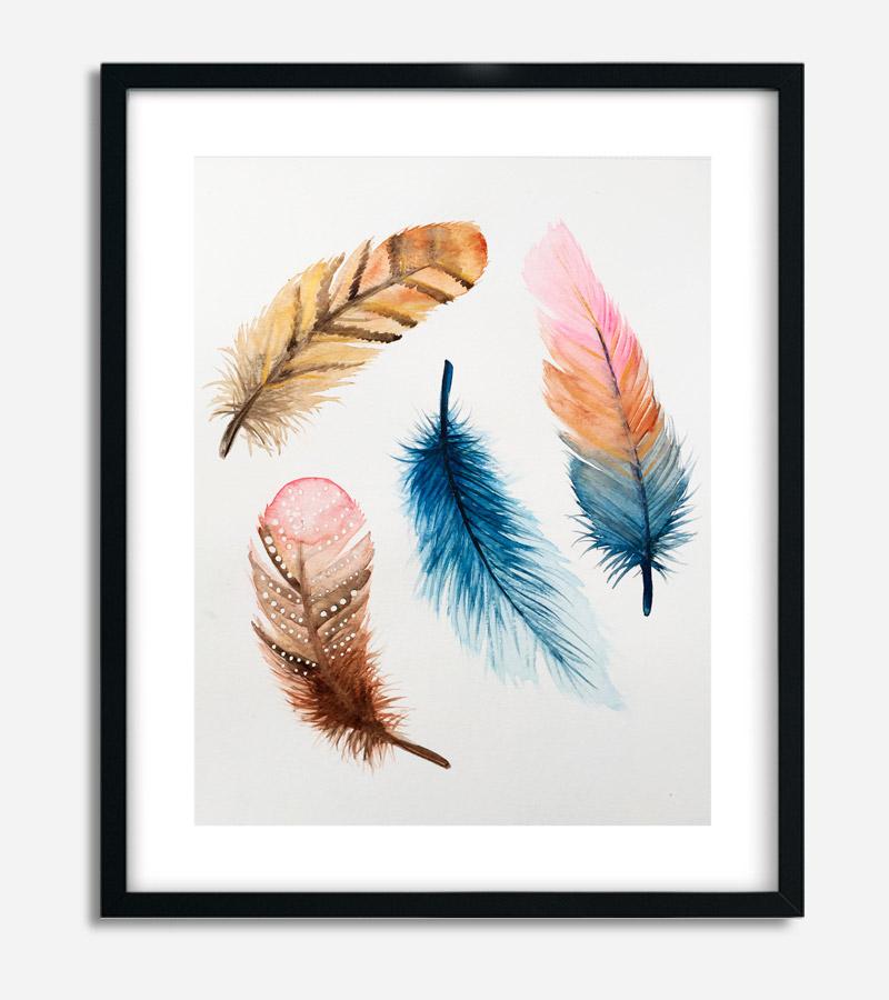 Bohemian Feathers A3 akvarel med fjer af Kamilla Ruus