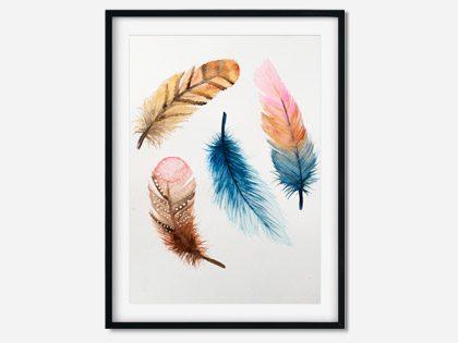 A3 akvarel med fjer – Bohemian Feathers