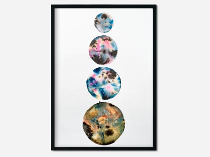 A3 akvarel med måner – Four Moons