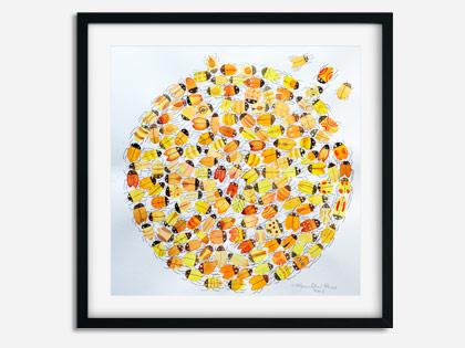 Maleri med biller i gule farver