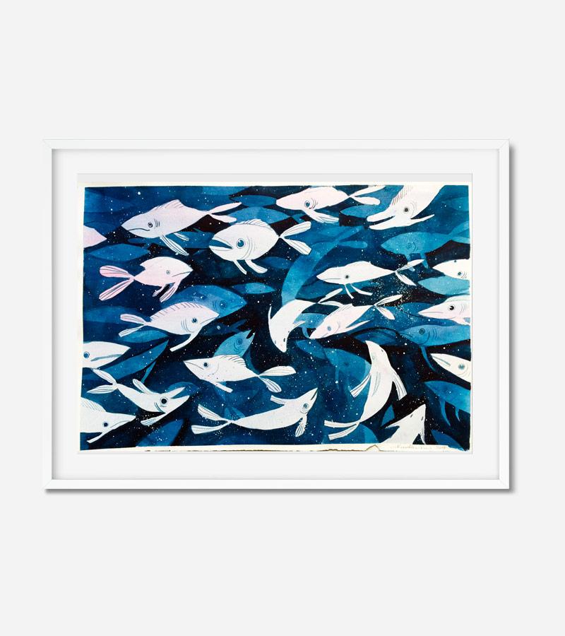 Maleri med fisk af Kamilla Ruus