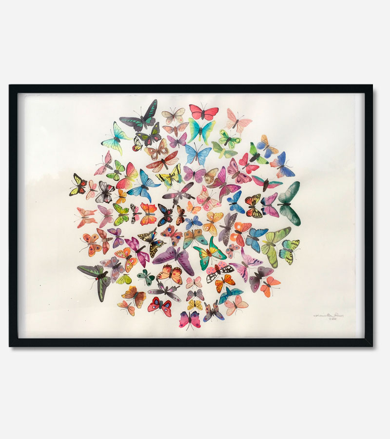 Maleri med sommerfugle af Kamilla Ruus