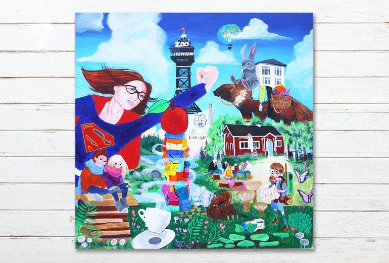 Maleri i 50 års fødselsdagsgave til mor