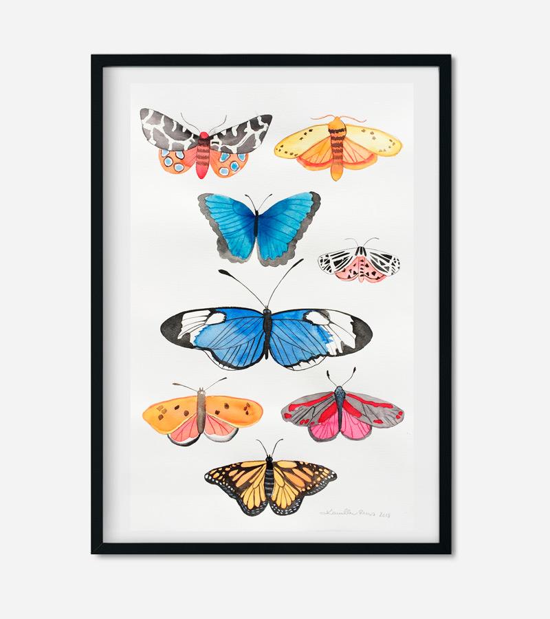 8 sommerfugle maleri af Kamilla Ruus