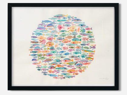 Akvarel maleri af cirkel med fisk