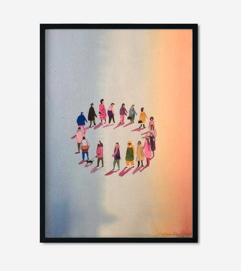 Akvarel maleri med mennesker går i ring