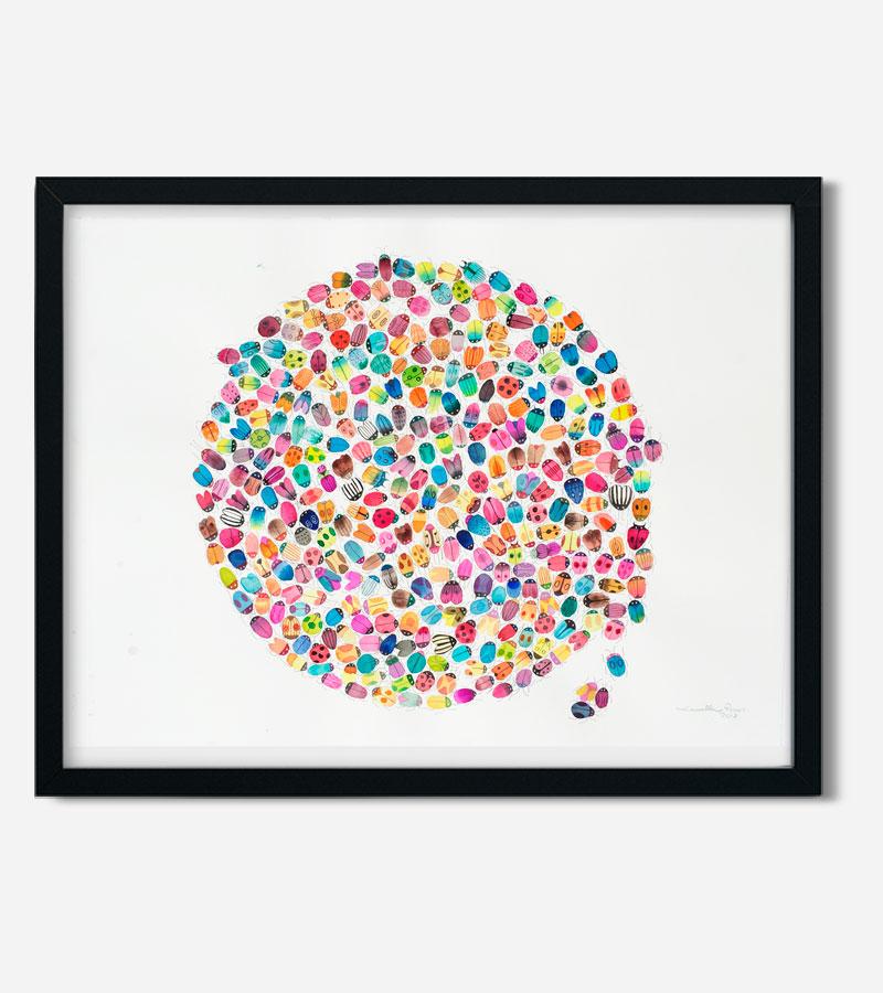 Bugs akvarel maleri med farverige biller af Kamilla Ruus
