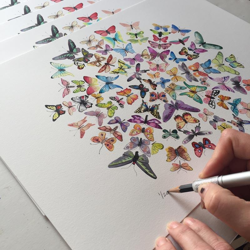 Flotte giclée kunstprint af Kamilla Ruus
