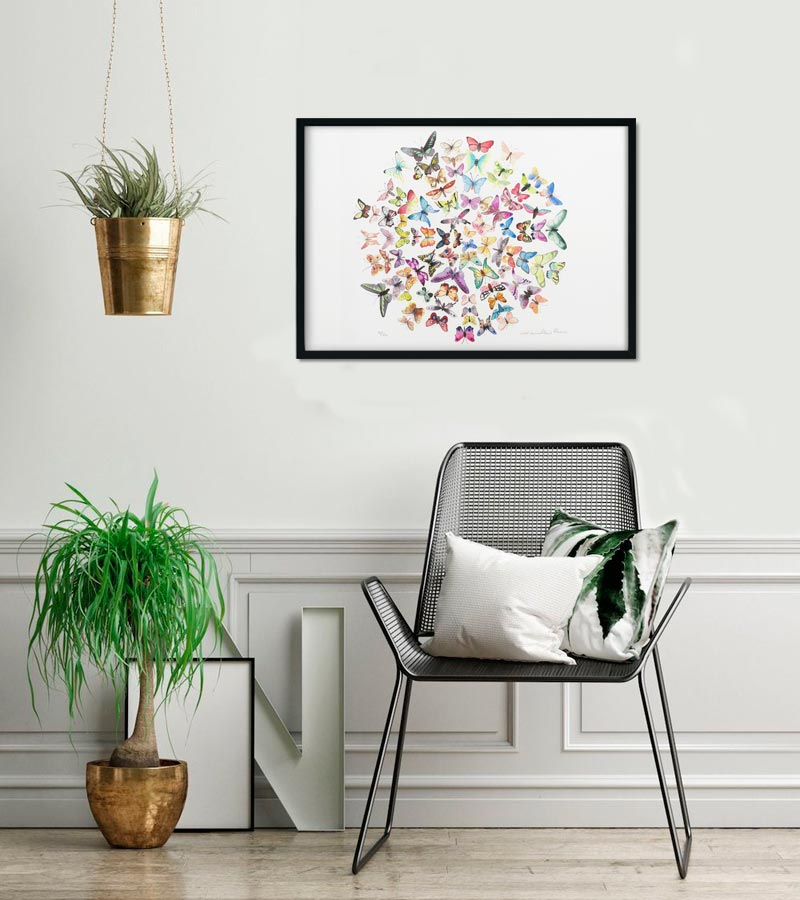 Sommerfugle limited giclee print af Kamilla Ruus