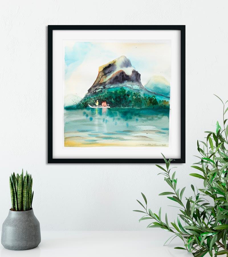 Akvarelbillede af fiskere på en flod af Kamilla Ruus