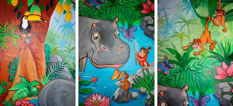 Kamilla Ruus jungle maleri med detaljer