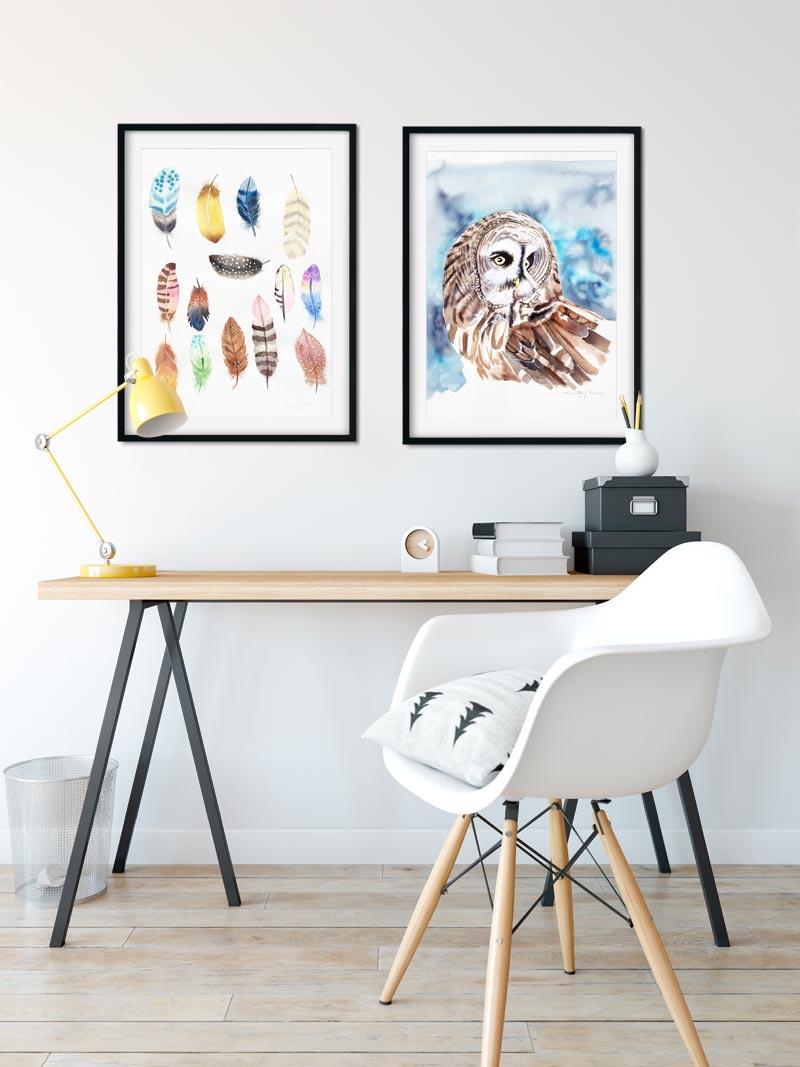 Moderne akvarelmalerier af Kamilla Ruus