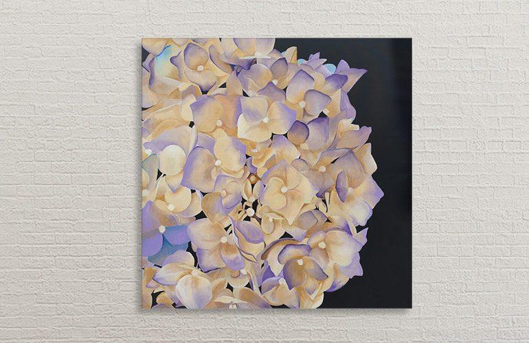 Stort hortensia blomstmaleri af Kamilla Ruus