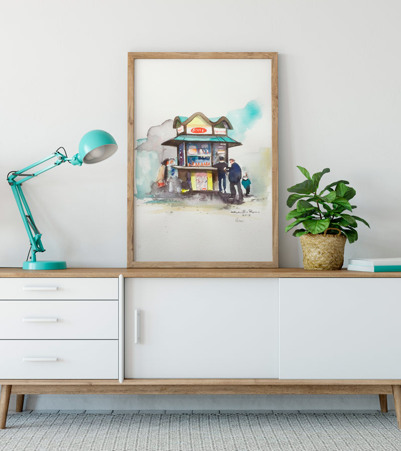 Akvarel illustration af Århus pølsevogn af Kamilla Ruus