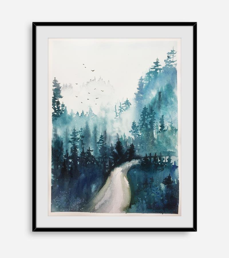 Akvarel maleri af tåget skov af Kamilla Ruus