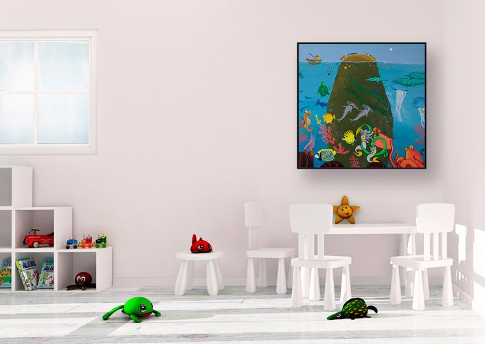 Dåbsgave maleri til børneværelset af Kamilla Ruus