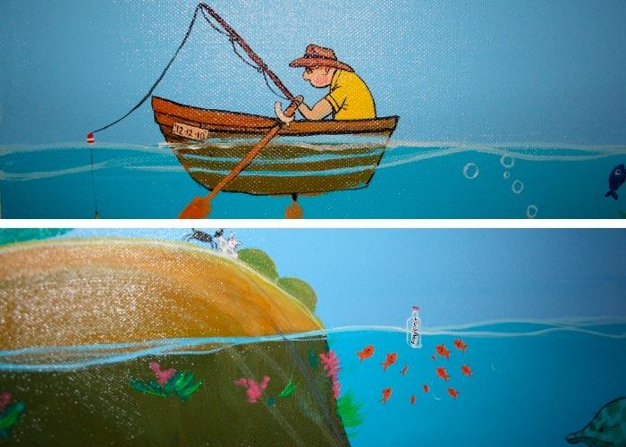 Detaljer fra undervands maleri af Kamilla Ruus