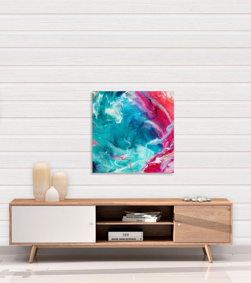 Solnedgang 60x60 cm maleri af Kamilla Ruus