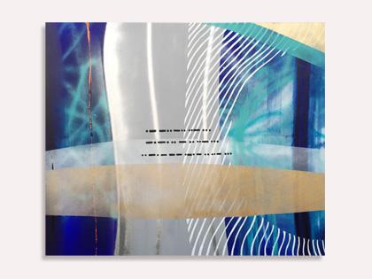 Et blåt akrylmaleri med morsetegn af Kamilla Ruus