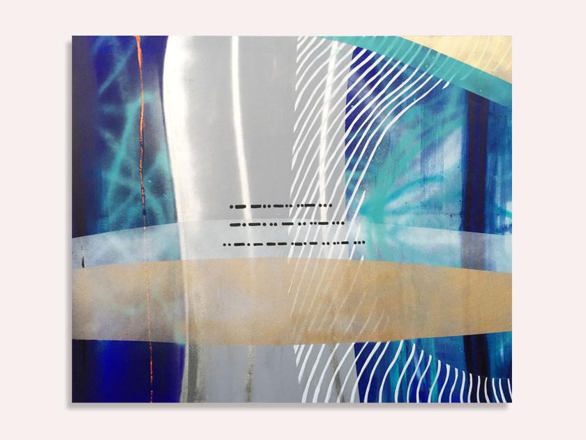 Blåt maleri med morsekode af Kamilla Ruus