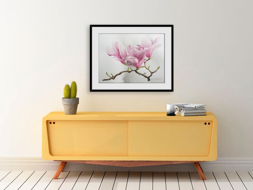 En god mors dag gave er en magnolia akvarel af Kamilla Ruus