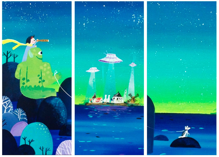 Barnedåbsgave fra gudmor et maleri med UFO'er af Kamilla Ruus