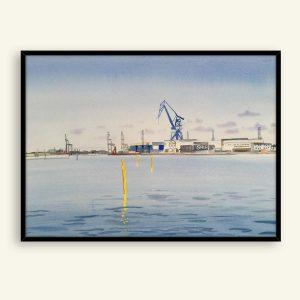 Århus havn akvarel maleri 76x56 cm af Kamilla Ruus