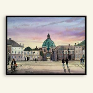 Amalienborg akvarel maleri 76x57 cm af Kamilla Ruus