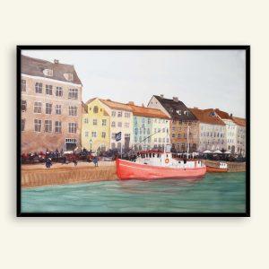 Nyhavn akvarel maleri af Kamilla Ruus