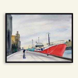 Svendborg havn akvarel maleri af Kamilla Ruus