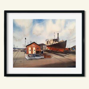 Akvarel maleri af fiskerhus i Hundested af Kamilla Ruus