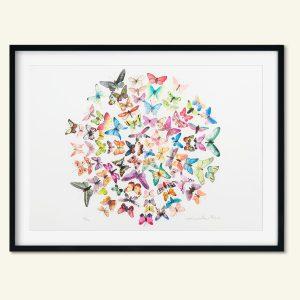 Dekorativt A3 kunsttryk sommerfugle af Kamilla Ruus