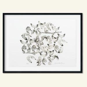 Dekorativt a3 kunsttryk af ugler lavet af Kamilla Ruus
