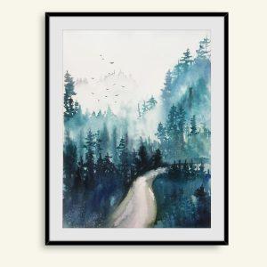 Flot akvarel maleri af tåget skov af Kamilla Ruus