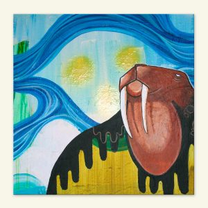 Hvalros akrylmaleri af Kamilla Ruus