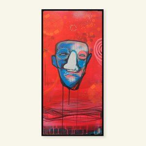 Abstrakt rødt maleri med ansigt af Kamilla Ruus
