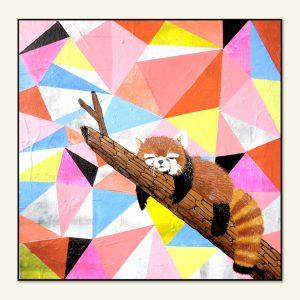 Moderne rød panda maleri af Kamilla Ruus