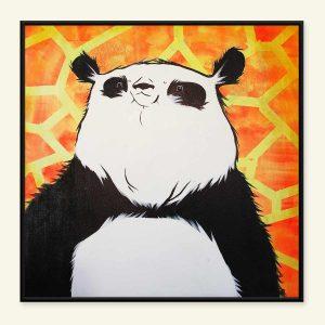 Panda maleri på gul baggrund af Kamilla Ruus