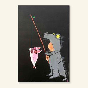 Sort maleri med fisk af Kamilla Ruus